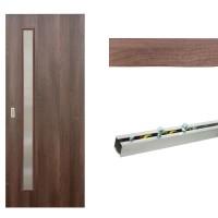 Usa de interior culisanta Eco Euro Doors, cu geam, nuc fibra, 95 x 206 cm + Set mascare pentru usa interior culisanta, nuc, 12 mm grosime, 100 x 2150 mm + Sistem culisare usa interior, aluminiu, 5 orificii montare, 1.9 m