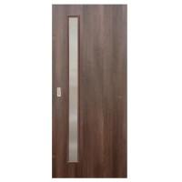 Usa de interior culisanta Eco Euro Doors, cu geam, nuc fibra, 95 x 206 cm + maner ingropat