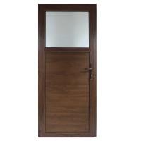 Usa exterior din PVC cu geam termopan 1/3, Far Est tip 1, 3 camere, prag aluminiu, stanga, nuc, 77 x 202 cm
