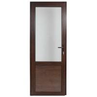 Usa exterior din PVC cu geam termopan 2/3, Far Est tip 2, 3 camere, prag aluminiu, stanga, nuc, 77 x 202 cm