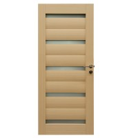 Usa de interior din lemn, cu geam, BestImp G1-78 D, stejar alb, stanga / dreapta, 203 x 78 cm