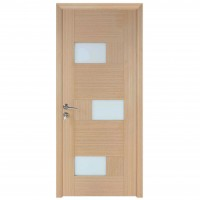 Usa de interior din lemn, cu geam, BestImp G6-68 D, stejar alb, stanga / dreapta, 203 x 68 cm