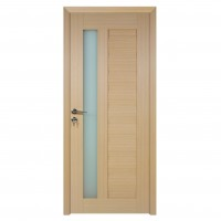Usa de interior din lemn cu geam BestImp G4-78 D, stanga / dreapta, stejar alb, 203 x 78 cm