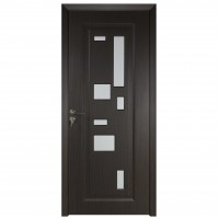 Usa de interior din lemn cu geam BestImp B02-88-K, stanga / dreapta, wenge, 203 x 88 cm