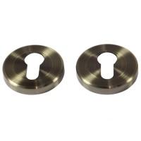 Rozeta pentru broasca cu cilindru Yale, otel, antic brass, 54 mm, 2 buc / set