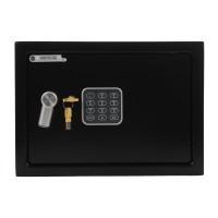 Seif perete Yale Mediu YEC/250/DB1, cu alarma, electronic + cheie cu bolturi, din otel, negru, 350 x 250 x 250 mm