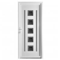 Usa exterior din PVC cu panel, Far Est Inoxline 05, 3 camere, prag aluminiu, stanga, alb, 90 x 204 cm