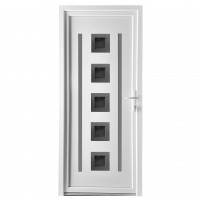 Usa exterior din PVC cu panel, Far Est Inoxline 05, 3 camere, prag aluminiu, dreapta, alb, 90 x 204 cm