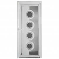 Usa exterior din PVC cu panel, Far Est Inoxline 18, 3 camere, prag aluminiu, stanga, alb, 90 x 204 cm