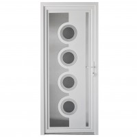 Usa exterior din PVC cu panel, Far Est Inoxline 18, 3 camere, prag aluminiu, dreapta, alb, 90 x 204 cm