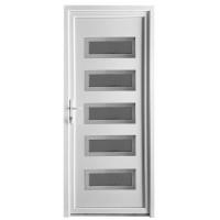 Usa exterior din PVC cu panel, Far Est Inoxline 29, 3 camere, prag aluminiu, stanga, alb, 90 x 204 cm