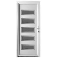 Usa exterior din PVC cu panel, Far Est Inoxline 29, 3 camere, prag aluminiu, dreapta, alb, 90 x 204 cm