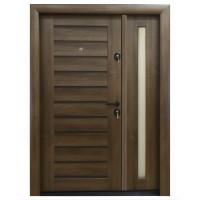 Usa metalica pentru exterior Arta Door 416D, stanga, nuc + wenge, 120 x 201 cm + accesorii