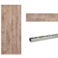 Usa de interior culisanta Eco Euro Doors, stejar 3D, 85 x 206 cm + Set mascare pentru usa interior culisanta, stejar 3D, 12 mm grosime, 100 x 2150 mm + Sistem culisare usa interior, aluminiu, 5 orificii montare, 1.7 m