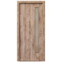 Usa interior celulara cu geam, Eco Euro Doors R80 3D, stanga, Gol II, stejar, 202 x 66 x 4 cm cu toc