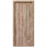 Usa interior celulara cu geam, Eco Euro Doors R80 3D, stanga, Gol II, stejar, 202 x 76 x 4 cm cu toc