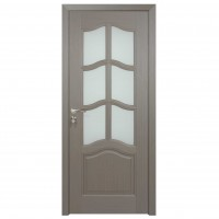 Usa de interior din lemn cu geam BestImp 013-88 G, stanga / dreapta, gri, 203 x 88 cm