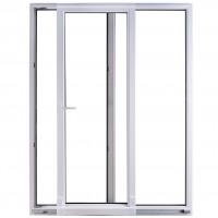 Usa exterior din PVC cu geam termopan, pentru terasa, Far Est, osciloculisanta, 5 camere, prag PVC, stanga, alb, 160 x 210 cm