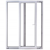Usa exterior din PVC cu geam termopan, pentru terasa, Far Est, osciloculisanta, 5 camere, prag PVC, dreapta, alb, 200 x 210 cm
