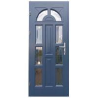 Usa intrare din lemn, Zsuzsana, gri antracit, cu sticla bombata, stanga, 88 x 208 cm