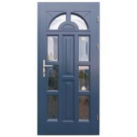 Usa intrare din lemn, Zsuzsana, gri antracit, cu sticla bombata, dreapta, 98 x 208 cm