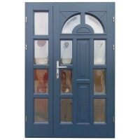 Usa intrare din lemn, Zsuzsana, gri antracit, cu sticla bombata, dreapta, 138 x 208 cm