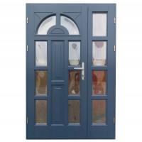 Usa intrare din lemn, Zsuzsana, gri antracit, cu sticla bombata, stanga, 138 x 208 cm