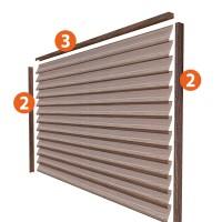 Profile montaj jaluzea gard Linella, 2000 x 60 x 0.5 mm, tabla otel zincat, mahon, set 3 buc
