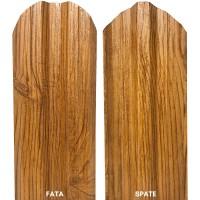 Sipca metalica cutata pentru gard, stejar fata / spate, 800 x 115 x 0.5 mm, set 25 bucati + 50 bucati surub autoforant