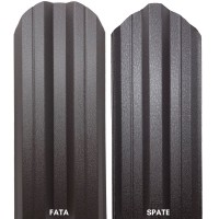 Sipca metalica cutata pentru gard, maro inchis / RAL 8019 fata / spate, 800 x 115 x 0.5 mm, set 25 bucati + 50 bucati surub autoforant