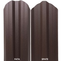 Sipca metalica cutata pentru gard, maro / RAL 8017 fata / spate, 800 x 115 x 0.5 mm, set 25 bucati + 50 bucati surub autoforant
