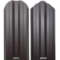 Sipca metalica cutata pentru gard, maro inchis / RAL 8019 fata / spate, 1100 x 115 x 0.5 mm, set 25 bucati + 50 bucati surub autoforant