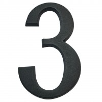 Numar 3 pentru casa, Sartpol, aluminiu, negru mat, exterior, 20 x 13 cm