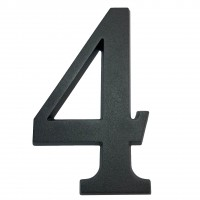 Numar 4 pentru casa, Sartpol, aluminiu, negru mat, exterior, 20 x 13 cm