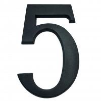 Numar 5 pentru casa, Sartpol, aluminiu, negru mat, exterior, 20 x 13 cm