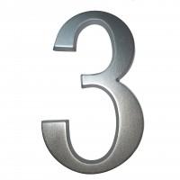 Numar 3 pentru casa, Sartpol, aluminiu, argintiu, exterior, 20 x 13 cm