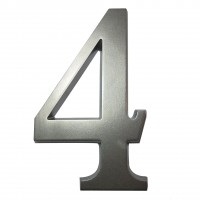 Numar 4 pentru casa, Sartpol, aluminiu, argintiu, exterior, 20 x 13 cm