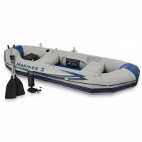 Set barca gonflabila / pneumatica Intex 68378NP/68373NP Mariner 3, pentru 3 persoane +  vasle