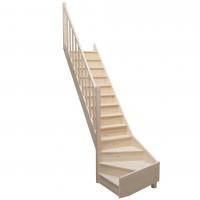 Scara lemn brad, Thalia, cu turnanta stanga, 13 trepte, 280 cm