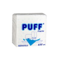 Servetele de masa Puff Practic, albe, 1 strat, 600 buc / pachet