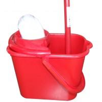 Mop 180 g + galeata din plastic 2329 15L + coada metalica + storcator, rosu