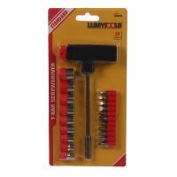 Set surubelnita tip T + 20 accesorii pentru insurubare, Lumytools LT65100