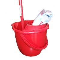 Mop 180 g + galeata din plastic 1797 10L + coada metalica + storcator, rosu