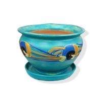 Ghiveci ceramic, diverse culori, rotund, D 20 cm