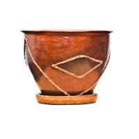 Ghiveci ceramic D15/1, maro, rotund, 15 x 16 cm