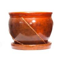 Ghiveci ceramic D25/3, maro, rotund, 25 x 20 cm