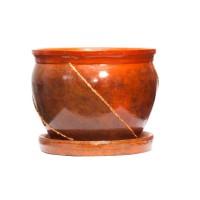Ghiveci ceramic D20/3, maro, rotund, 20 x 16 cm