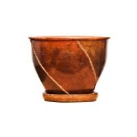 Ghiveci ceramic D15/3, maro, rotund, 20 x 16 cm