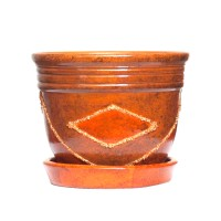 Ghiveci ceramic A1, maro, rotund, 13 x 10 cm