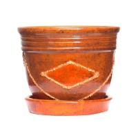 Ghiveci ceramic A3, maro, rotund, 20 x 15 cm